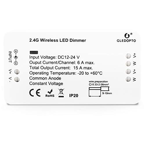 LIGHTEU®, Zigbee dimmer single color LED strip controller 12V-24V compatible with Zigbee Hub Amazon Echo Plus Alexa and Lightfy Hun for APP/Voice control (Hub required)