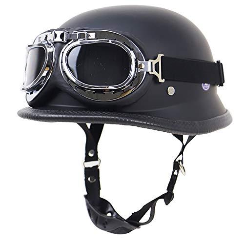 Retro Oldtimer Halbschale Jet-Helm Motorrad-Helm Brain-Cap Roller-Helm Motorrad-Helm Scooter-Helm Chopper Mofa Roller Helm ECE/DOT Zertifizierung Mit Built-in Visier A,M=57~58cm