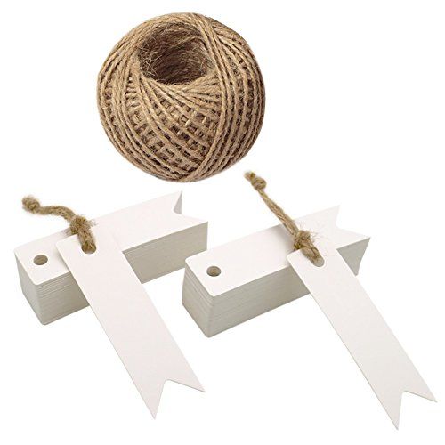 100 Stück 7 CM * 2 CM Kraftpapier Etiketten Tags Geschenk Anhänge Papieranhänger Hängeetiketten Anhängeetiketten mit Jute-Schnur 30 Meter (Weiß)
