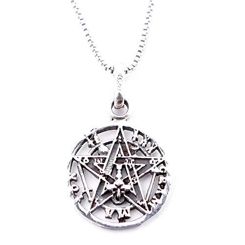 Collar Delicado de Plata de Ley 925 con medallón de Tetragrámaton - Incluye Cadena Box Chain de 45 cm en Plata - 21 mm