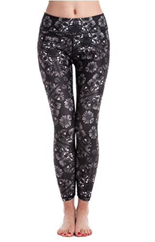 Lotus Instyle Frauen Yoga Hose Trainings Leggings Sport Leggings Jogginghose mit Blumemuster Schwarz-L