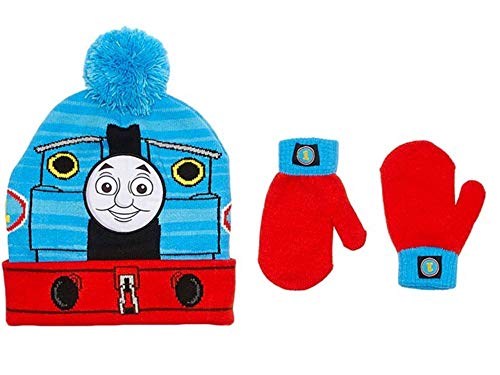 Thomas Train Little Boys Toddler Winter Hat and Mitten Set, Red/Blue