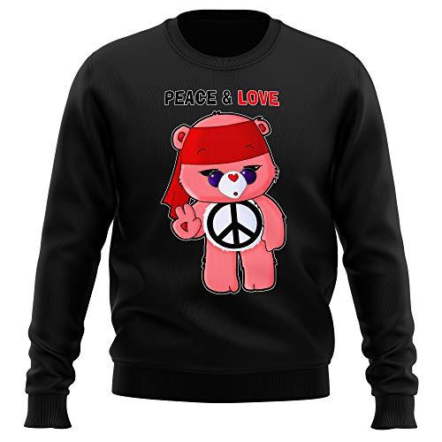 Pull Noir Parodie Bisounours - Bisounours - Peace and Love ! (Chibi Version) (Sweatshirt de qualité Premium de Taille XL - imprimé en France)