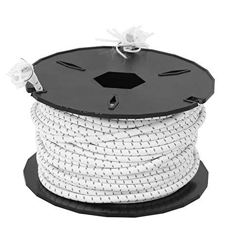 Meiyya Hochelastisches Outdoor-Camping-Zeltseil Verschleißfestes Latex-elastisches Starkes elastisches Seil, Zeltseil, Rettungsleine für(White + Black Spot (Non-Reflective))