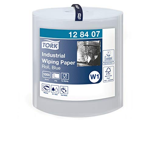 Tork 128407 Industrie Papierwischtücher für W1 Bodenständer- und Wandhalter-System / Saugfähige, 3-lagige Wischtücher Rolle in Blau / Universal Qualität / 1 x 340 m