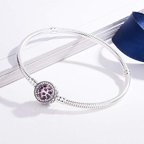 HMKLN Original Sterling Silber Durchbrochene strahlende Herzen mit rosa Kristall Pan Armband Armreif Fit Frauen Bead Charm DIY Schmuck