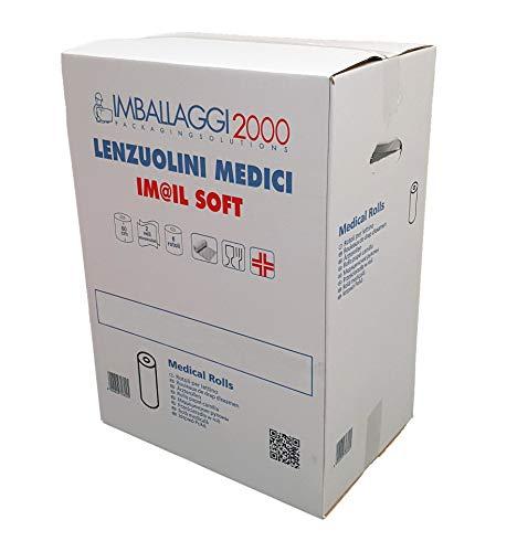 IMBALLAGGI 2000-6 Rotoli di Carta per Lettino da Massaggio, Medico o Estetista - 0,6x75 mt - 6 Rotoli Lenzuolino - Confezione da 1 Scatola