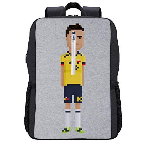 Preisvergleich Produktbild Pixel James Rodriguez Rucksack Daypack Bookbag Laptop Schultasche mit USB-Ladeanschluss