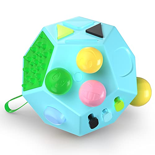 VCOSTORE 12 Sided Fidget Cube, Dodecagon Fidget Toy for Children and Adults, Stress and Anxiety Relief Depression Anti Cube for All Ages with ADHD ADD OCD Autism (Blue)