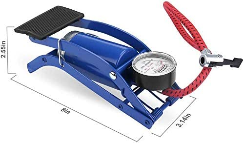 AMTOPZ High Pressure Foot Pump, Bike Motorbike Inflation Pump with Pressure Gauge, Foot Pedal Inflator Single Barrel ...