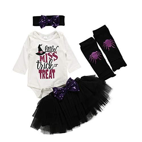 4 Piezas Conjunto de Ropa Halloween para Bebé Recién Nacida Traje Mameluco de Manga Larga + Falda de Tul + Diadema/Sombrero + Calentadores de Piernas para Niñas Pequeñas