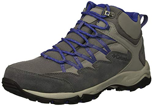 Columbia Women Wahkeena Mid Waterproof Hiking Boot, Breathable, High-Traction Grip, Ti Grey Steel, Clematis Blue, 6