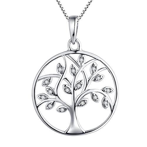YL Collana Donna Albero della Vita argento 925 con pendente albero della catena della vita per donna ragazza madre, lunghezza della catena 45-50 cm