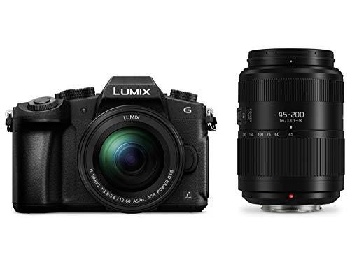 "Panasonic Lumix DMC-G80W - Cámara EVIL de 16 MP, Pantalla de 3"", Visor OLED, RAW, Wi-Fi, 4K, Kit con Doble Objetivo Lumix Vario 12 - 60 mm/F3.5-5.6 y 45 - 200 mm/F4-5.6 II, Color Negro"
