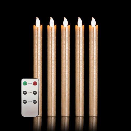5er Set LED Stabkerzen Tafelkerzen mit Fernbedienung und Timer aus Echtwachs - verschiedene Farben wählbar (Kupfer Metallic + FB)