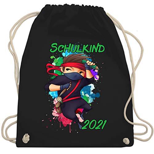Shirtracer Einschulung und Schulanfang Geschenk - Cooler Ninja Junge 2021 - Unisize - Schwarz - turnbeutel ninja - WM110 - Turnbeutel und Stoffbeutel aus Baumwolle