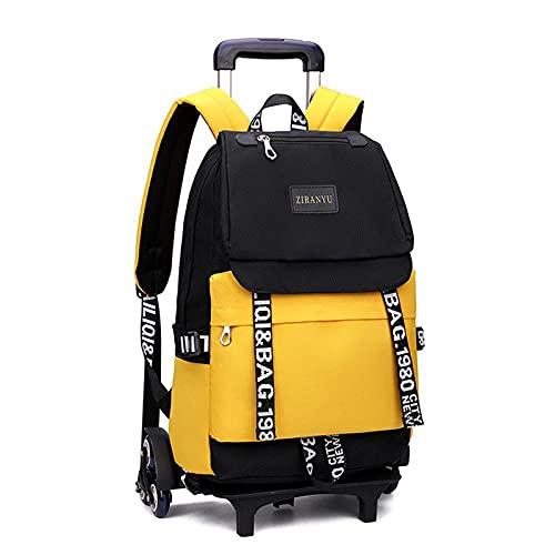 JKHN - Zaino da viaggio per bambini, con ruote, leggero, traspirante, impermeabile, con ruote gialle a sei ruote
