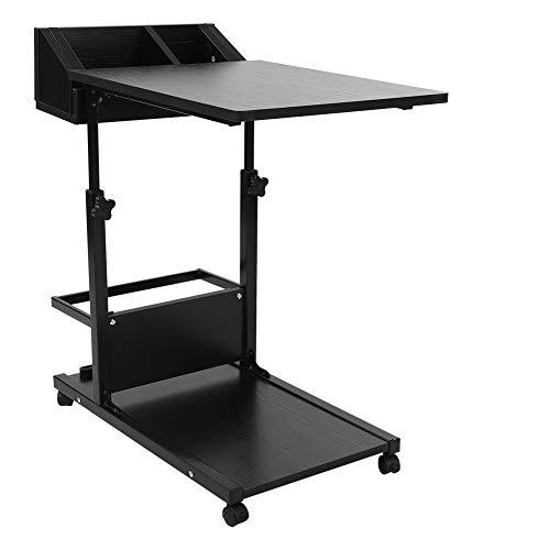 Escritorio extraíble para computadora portátil, escritorio extraíble multifuncional portátil para computadora portátil con ruedas, cajón, cama, sofá, libros(Negro)