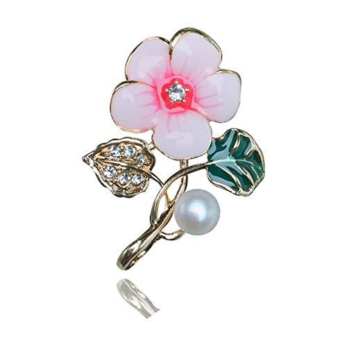 Xiaofeng214 Micro-Set Kristall natürliche Süßwasser-Perle Blumenbrosche Anzug Stift (Color : Golden)