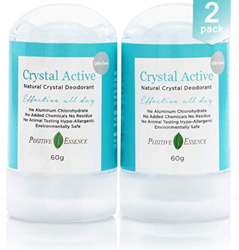 Thai Crystal Deodorant Stone, Crystal Active, 100% Natural, Long Lasting, Single Ingredient, No Aluminum Chlorohydrate or Chemicals, Unscented, Underarmed Deodorant for Women & Men, 60g (2 Pack)