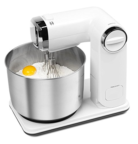 Medion MD 17664 kompakte Küchenmaschine (300 Watt, 3,5 Liter, 6 Geschwindigkeitsstufen, 5-Teiliges Zubehör-Set) weiß