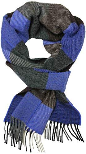 Bufanda de lana de zorro rojo Bufanda de invierno Bufanda para hombre Suave y cálido a cuadros Lana de moda Hecho en Alemania (marrón antracita, 180 x 30 cm)