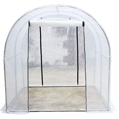 Lqdp Outdoor Greenhouse Tunnel for Garden- With Reinforced Cover and 2 Door, Heavy Duty Compact Plant Grow House, White (Size : Small)