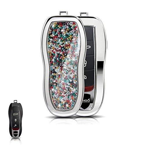 para la Cubierta de la Caja de la Llave Llavero de Diamantes de Cristal para Porsche Panamera Cayenne Macan 911918, Juego de Plata 03 Cubierta de Plata 03