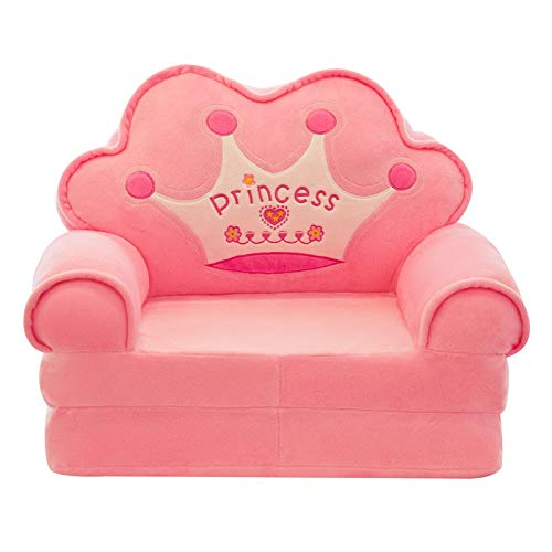 HOMDREAM Peluche Divano per Bambini Seduta Sedia Princess Crown Poltrona Cute Cartoon Lavabile Bambini Pieghevole Sedie Sedie Coprisedile Mobili Imbottiti,Pink