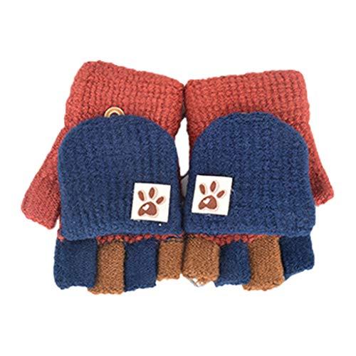 Noband Guantes de invierno sin dedos de punto para niños con cubierta de solapa, multicolor, patchwork, tapa abatible, convertible, mitad de dedo, JSFGFSDH