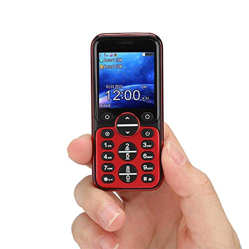 Bluetooth Mini mobiele telefoons - GSM Bluetooth Handset telefoon Oortelefoonkiezer, GSM/GPRS 850/900/1800/1900MHz, Quad Band Dual Card Dual Standby mobiele telefoon(Rood)