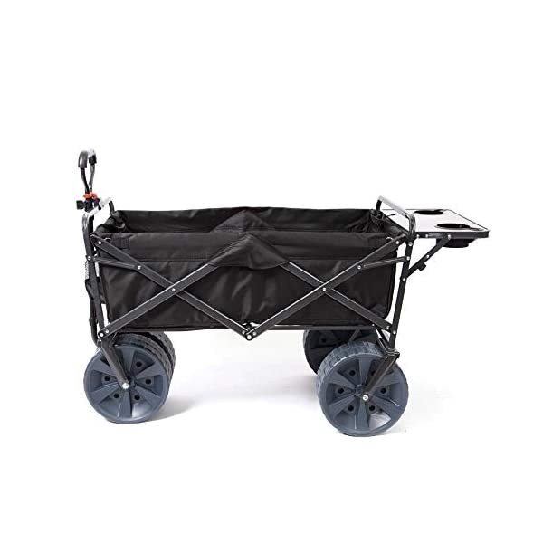 Mac Sports Heavy Duty Collapsible Folding All Terrain Utility Wagon Beach Cart with Table – Black