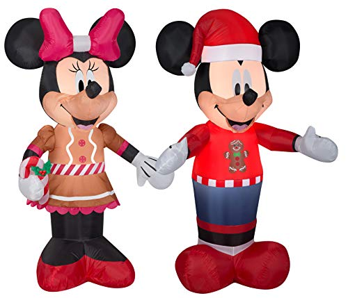 Gemmy 5Ft. Inflatable Christmas Mickey and Minnie Mouse Dressed in Gingerbread Outfits Airblow Indoor/Outdoor Holiday Decorations