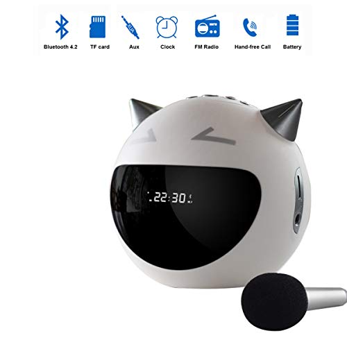 Enjoy Best Time Digital Microphone Radio Alarm Clock,Wirless Bluetooth Speaker Clock/Kara Song/USB Charging AUX TF Card Play for Desktop(White)