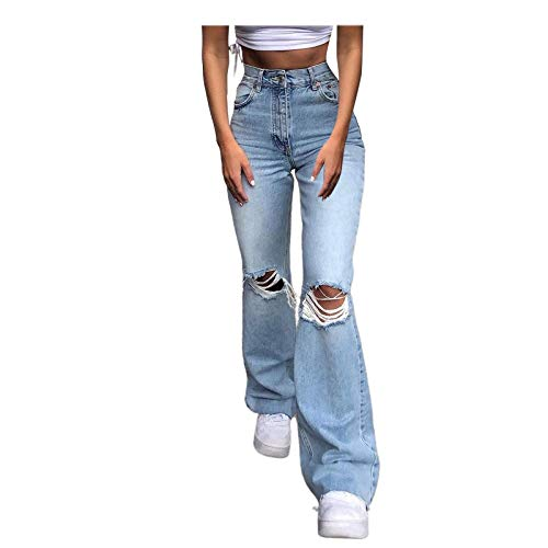 Tomwell Hosen High Waist Stretch Damenjeans, Engen Hohe Taille Ripped Jeans Bodenlange Bell Bottom Sexy Lady Loose Wide Leg Pants D Hellblau M