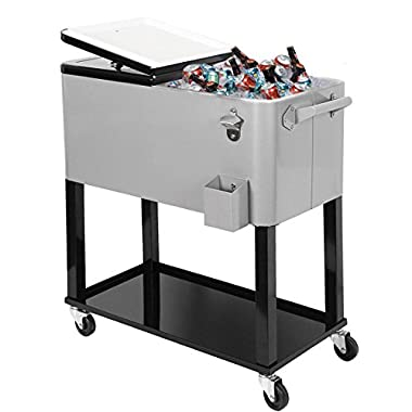 Clevr 80 Qt Outdoor Patio Home Cooler Rolling Cooler Ice Chest, Silver, with Extra Tray,Portable Patio Party Bar Cold Drink Beverage Chest, Outdoor Cooler Cart on Wheels with Shelf and Bottle Opener