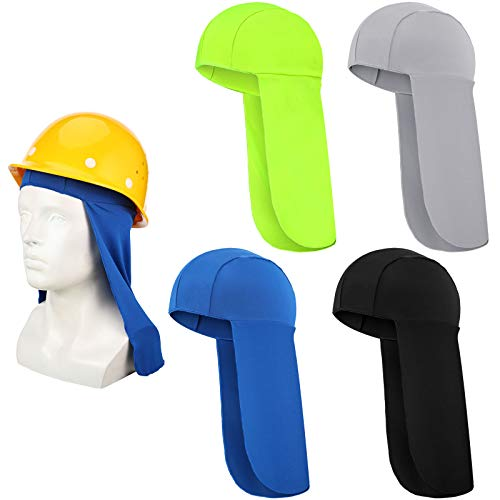 4 Pieces Elastic Resistant Hard Hat Neck Shade Elastic UV Protection Sun Shade Hat Neck Shield Neck Protector to Cover Neck for Fishing, Riding (Black, Royal Blue, Fluorescent Green, Gray)