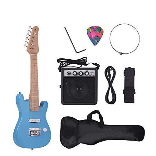 KEPOHK Kit de guitarra eléctrica ST para niños de 28 pulgadas, mástil...