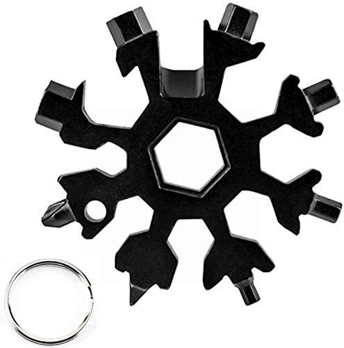 18-in-1 Schneeflocke Multi-Tool,Schlüsselanhänger Flaschenöffner Ringschlüssel Edelstahl Fahrrad Multifunktionswerkzeug tragbare Schraubendreher,für Outdoor-Abent-Weihnachtsgeschenke(Schwarz)