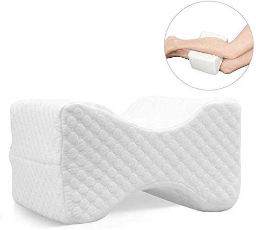 WUKONG99 - Almohada de apoyo a la rodilla para dormir lateral, cojín de alivio del dolor de nervios ciáticos, almohada de espuma viscoelástica para piernas, cojín de contorno con funda lavable para dolor de espalda, dolor de piernas, embarazo