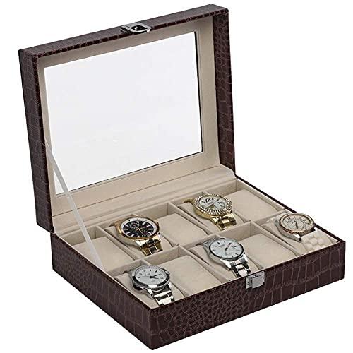 CDPC Caja de relojes Caja de relojes Caja de relojes Caja de 10 ranuras de piel sintética con pantalla de cristal, soporte de joyería para hombres y relojes de lujo, 25,5 x 20,5 x 8 cm