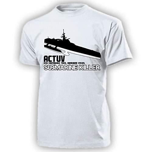 actuv Submarine Killer ASW Continuous Trail Unmanned Vessel Anti Submarine drone Anti UBoot Cacciatore Marine–T shirt # 17464 bianco X-Large