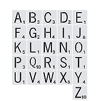 ROSEBEAR 26pcsレタータイルA-Z大文字タイルDIY工芸品のスペルのためのインタラクティブな教育玩具