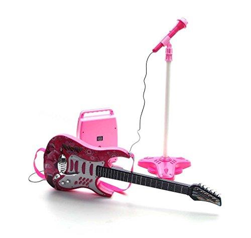 Rock-Gitarre mit Stahlsaiten, Verstärker, verstellbare Stativ und Mikrofon - Rockgitarre für Kinder - Kinder-Gitarre - Rock Guitar - Spielzeug-Gitarre - Gitarre mit Spielfunktionen - Kleinkind Musikinstrument - erste Gitarre für Kleinkind - ROSA