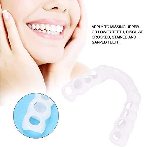 ZYXBJ kosmetische Zahnverblendungen simulierte Zahnspangen, obere Zahnspangen untere Zahnspangen sofortiger Komfort Flexibilität perfekte Verblendung weiß wiederverwendbar