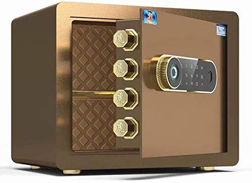 Vault kluis, huishouden, klein vingerafdruksluitvak, High Security staal, antidiefstal-klein, meubelkluis (kleur: bruin, maat: 42 x 32 x 35 cm)