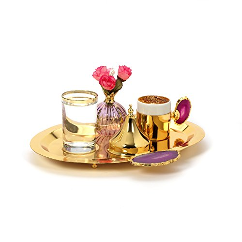 MisterCopper New Premium 2017 Turkish Coffee Espresso Cup and Tray Decoreted with Natural Stone,water glass and sugar serving dish - Gold