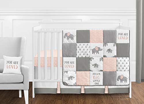 Sweet Jojo Designs Blush Pink, Grey and White Watercolor Elephant Safari Baby Girl Crib Bedding Set - 11 Pieces