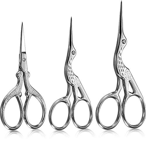 3 Pieces Stork Scissors Stainless Steel Crane Design Sewing Scissors Embroidery Scissors Tailor Scissors Dressmaker Shears for Embroidery, Paper Cutting, Sewing and Daily Activities (Silver)