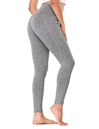 ALONG FIT Leggings de deporte para mujer, opacos, largos, de cintura alta, para correr, yoga, fitness, 1-gris carbón, M